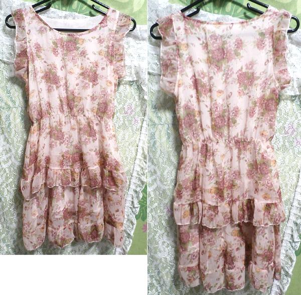 淡いピンクの花柄フリル可愛いミニワンピース/チュニック Light pink flower pattern ruffle cute little dress/tunic_画像3