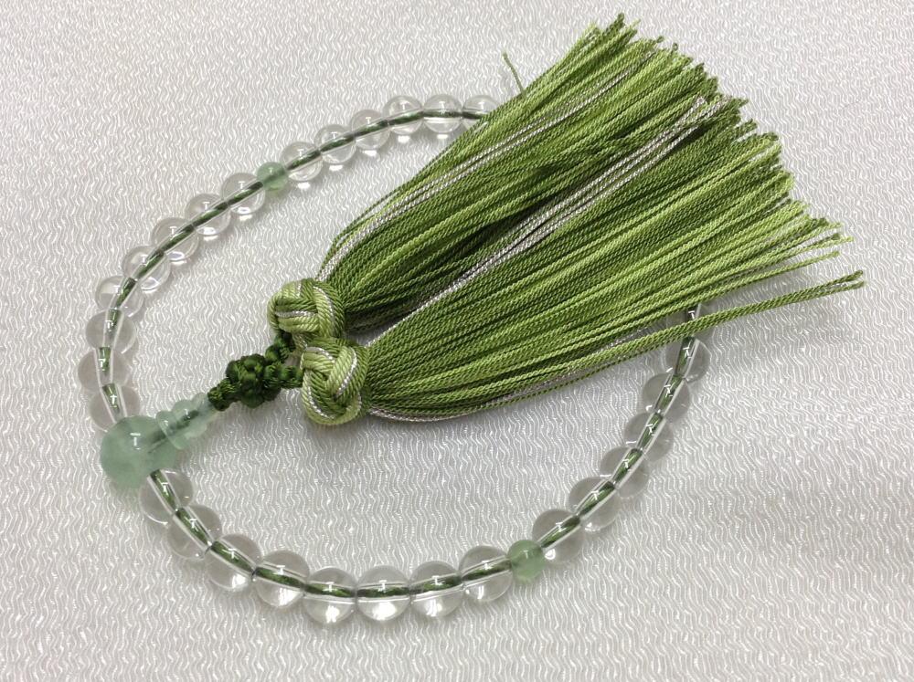【佐藤仏】 女性用 水晶 緑蛍  銀花かがり房仕立て_画像1