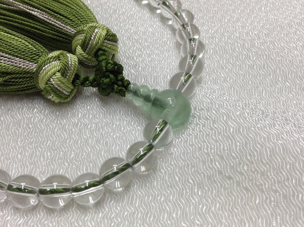 【佐藤仏】 女性用 水晶 緑蛍  銀花かがり房仕立て_画像2