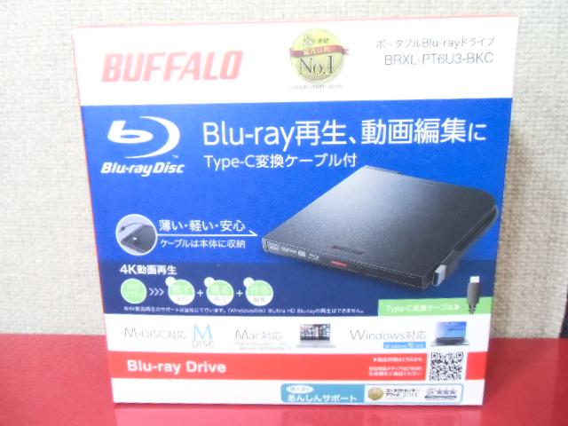 1円!ほぼ新品!未使用★ BUFFALOバッファロ-USB外付けBDドライブ BRXL-PT6U3-BKCブル-レイディスクドライブ書き込み再生Type-c変換★8