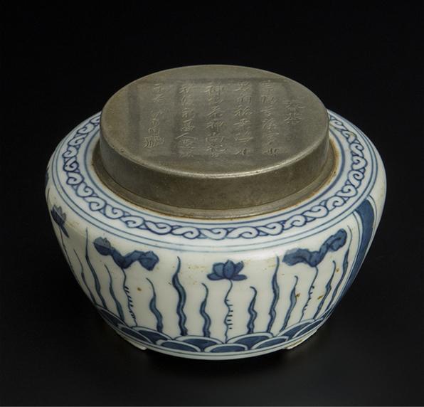 清 沈存周制錫盒 青花茶叶罐 清 沈存周制锡盒 青花茶叶罐 中国 古美術