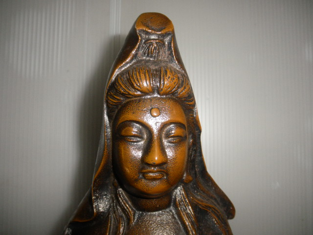 @@ ◆観音様 仏像 金属工芸 鉄 古民具 レトロ調 アンティーク調 インテリア 雑貨 彫刻 東洋彫刻 _画像3