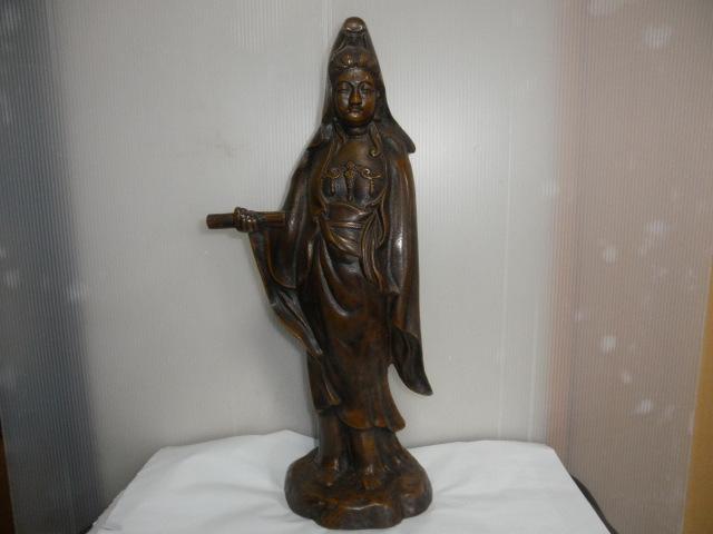 @@ ◆観音様 仏像 金属工芸 鉄 古民具 レトロ調 アンティーク調 インテリア 雑貨 彫刻 東洋彫刻 _画像1