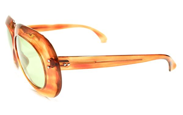 極上アバンギャルドSHAPE 1950sフランス製2DOTラウンドワイドリム鼈甲柄PANTO日本製ガラスレンズ入サングラスA4441 ヴィンテージ眼鏡メガネ_画像3