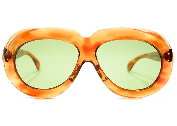 極上アバンギャルドSHAPE 1950sフランス製2DOTラウンドワイドリム鼈甲柄PANTO日本製ガラスレンズ入サングラスA4441 ヴィンテージ眼鏡メガネ_画像1
