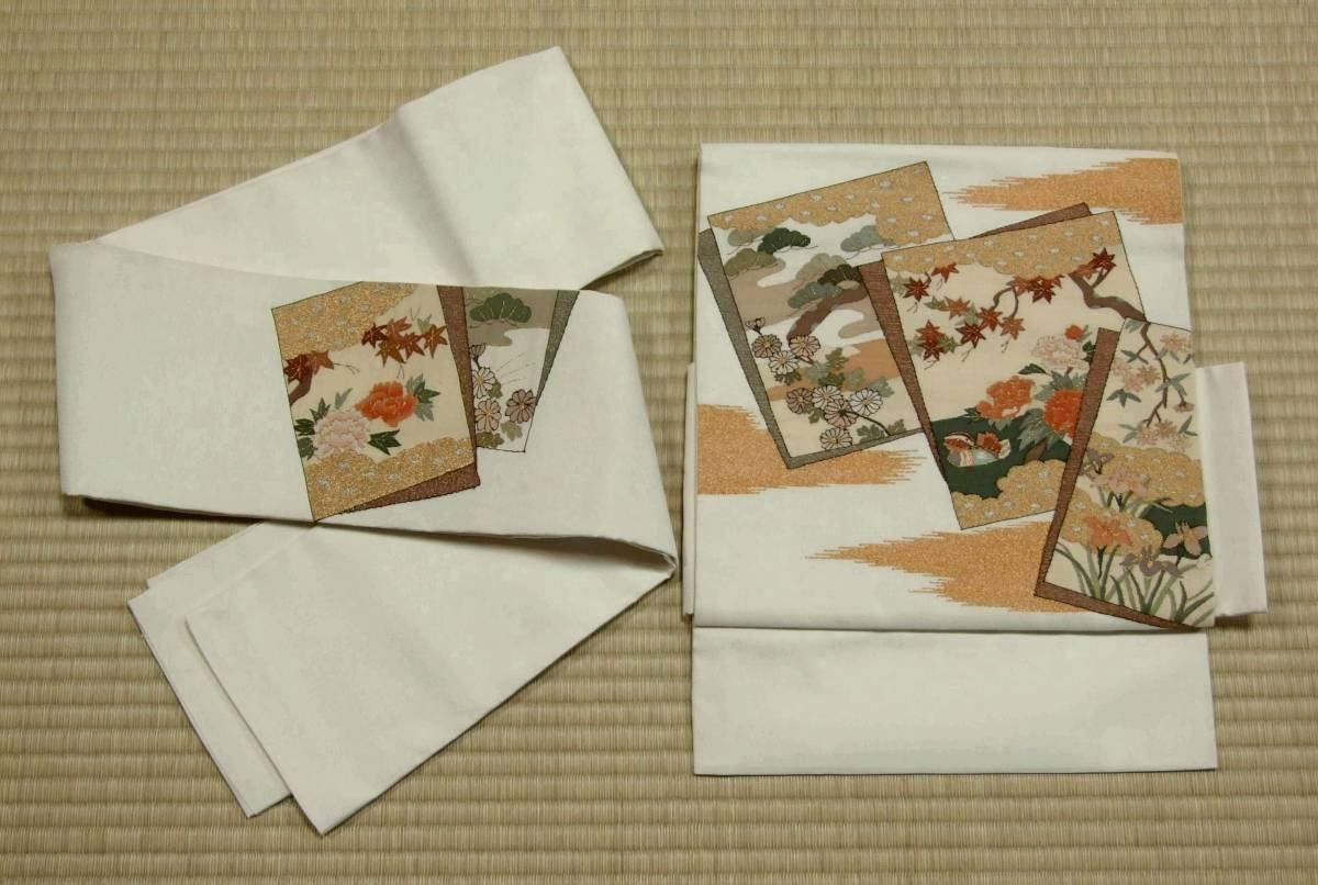 正絹袋帯 文化帯 二部式帯 二重太鼓 白地 色紙に鴛鴦 松菊紅葉牡丹杜若金雲など
