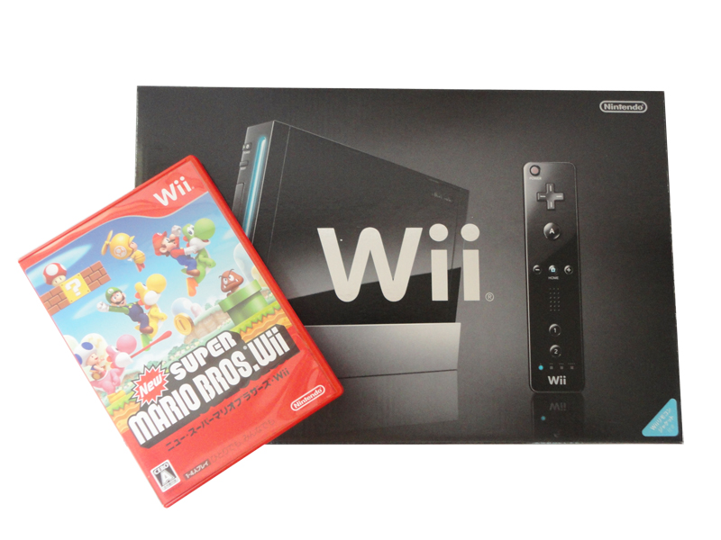美品 Wii 本体 黒 リモコンプラス 付属完品 RVL-001 スパーマリオセット