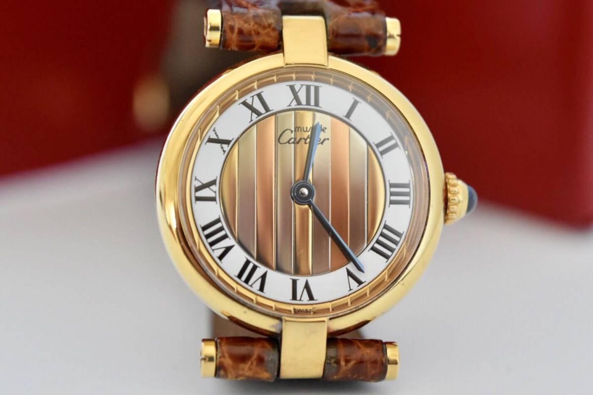 【藏】  美品 カルティエ Cartier マスト トリニティ ヴェルメイユ レッディース時計 スリーカラー文字盤