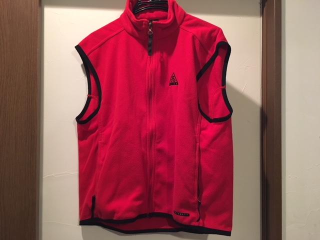 ナイキゴルフ(NIKE)フリースベストサイズLくらい☆中古品☆レッド☆100円スタート!