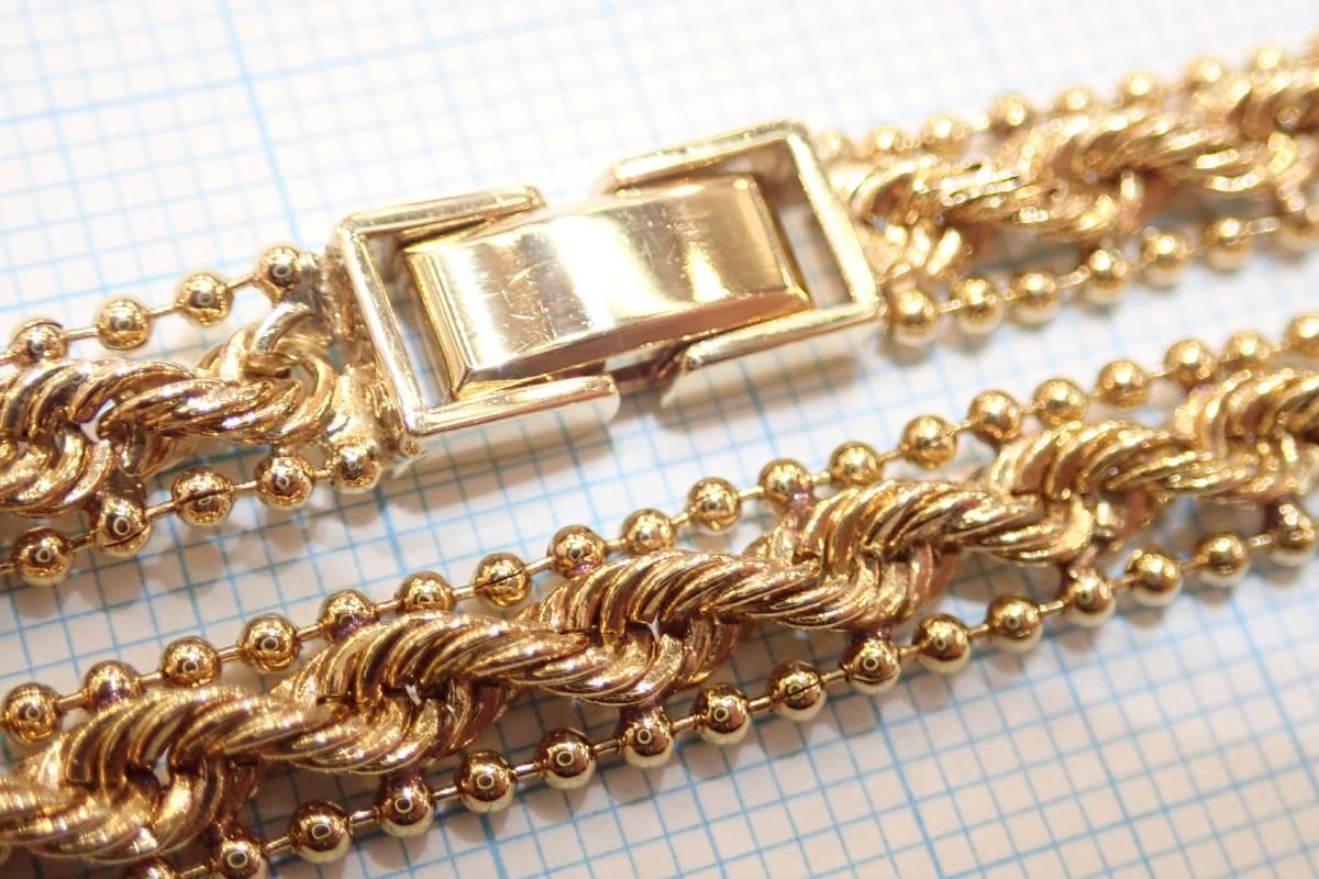 ■K18YGデザインネックレス 20.6g 43.5cm 磨き仕上げ■ボールチェーン ネジネジ■中折れクラスプ式■レターパックプラス送料無料です■_画像6