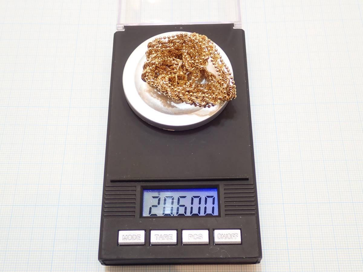 ■K18YGデザインネックレス 20.6g 43.5cm 磨き仕上げ■ボールチェーン ネジネジ■中折れクラスプ式■レターパックプラス送料無料です■_画像8