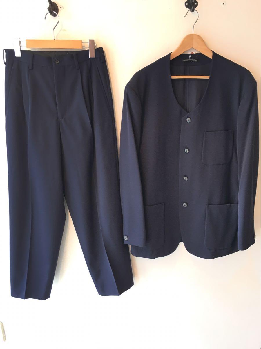 @ 初期 80年代 Yohji Yamamoto pour homme ノーカラー セットアップ スーツ ネイビー ヨウジヤマモト プールオム 80s ヴィンテージ ワイズ