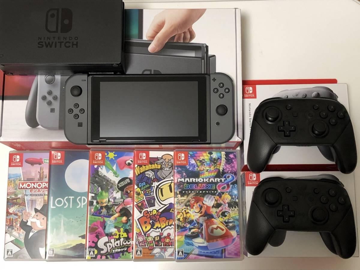 Nintendo Switch ニンテンドースイッチ 本体 ソフト5本+Proコントローラー2個セット  美品
