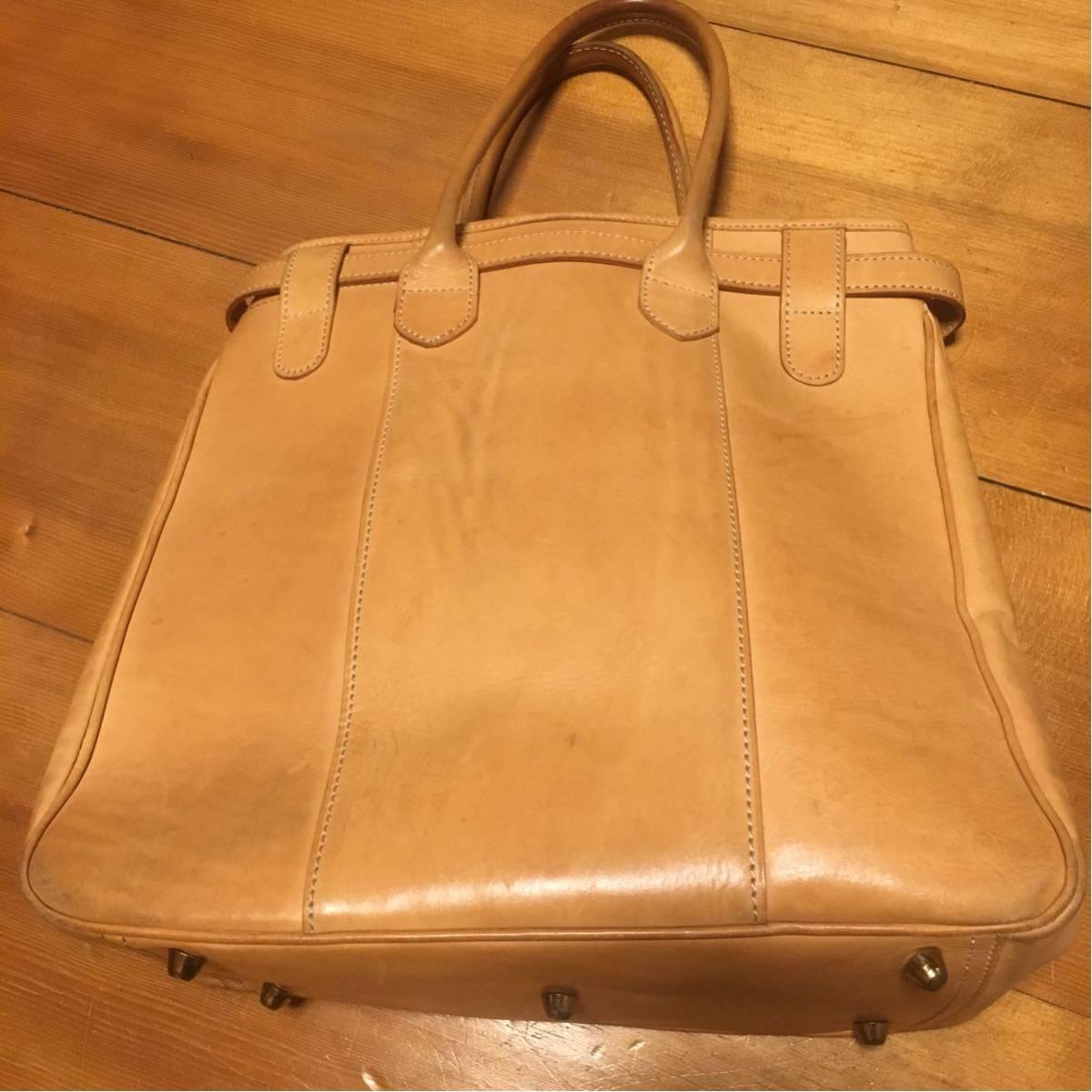極上品 大型 ブリー BREE ヌメ革 バッグ ショルダーハンドバッグ 鞄 トートバッグ ナチュラルレザー 縦型 総革