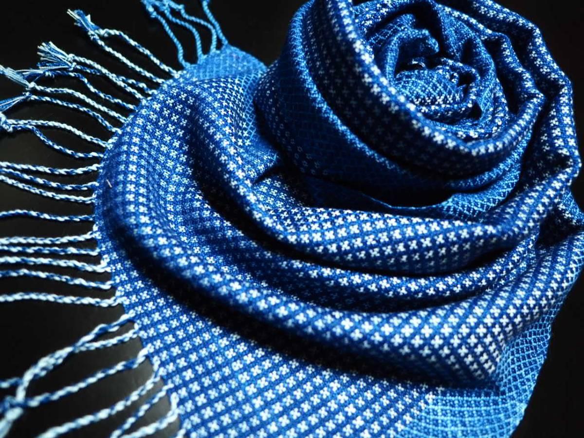 豪華 希少 藍染 一点物 本物志向 高級 インディゴ ストール 大判 綿 ショール ネイビー 青 水色 NAVY PINK 紺 新品 3