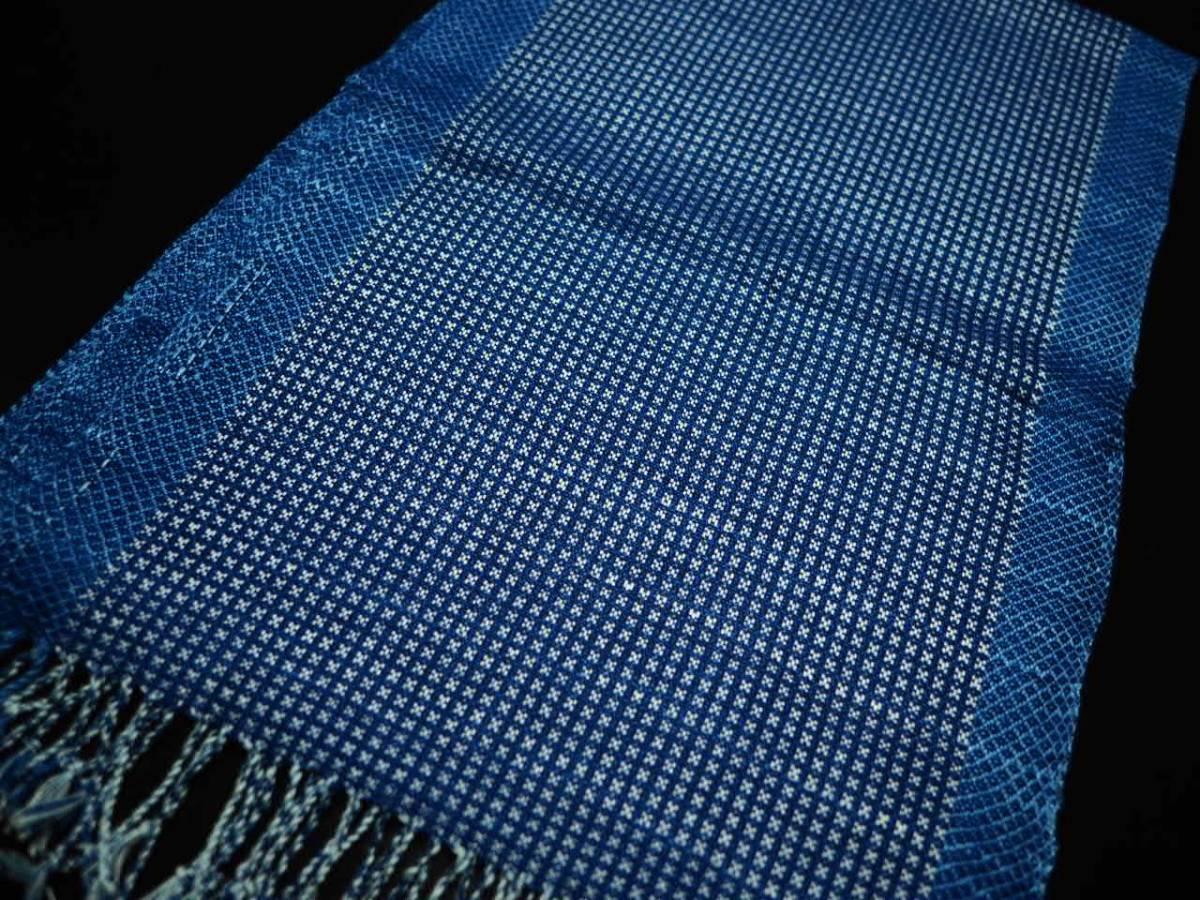豪華 希少 藍染 一点物 本物志向 高級 インディゴ ストール 大判 綿 ショール ネイビー 青 水色 NAVY PINK 紺 新品 3_画像3