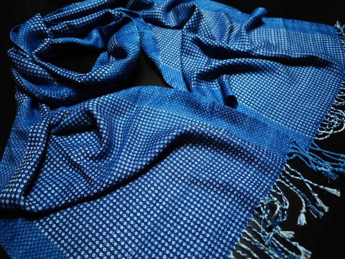 豪華 希少 藍染 一点物 本物志向 高級 インディゴ ストール 大判 綿 ショール ネイビー 青 水色 NAVY PINK 紺 新品 3_画像2