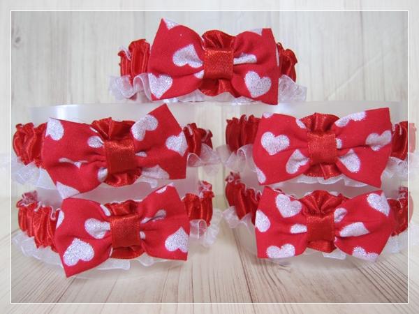 【送料無料】2.14 Happy Valentine's Day!バレンタインデー大っきめリボンのシュシュネックレス【サイズM】レッドカラー5本セット_画像2