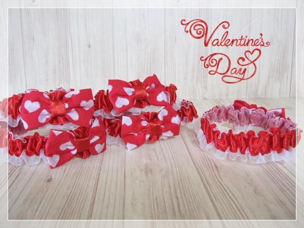 【送料無料】2.14 Happy Valentine's Day!バレンタインデー大っきめリボンのシュシュネックレス【サイズM】レッドカラー5本セット_画像3