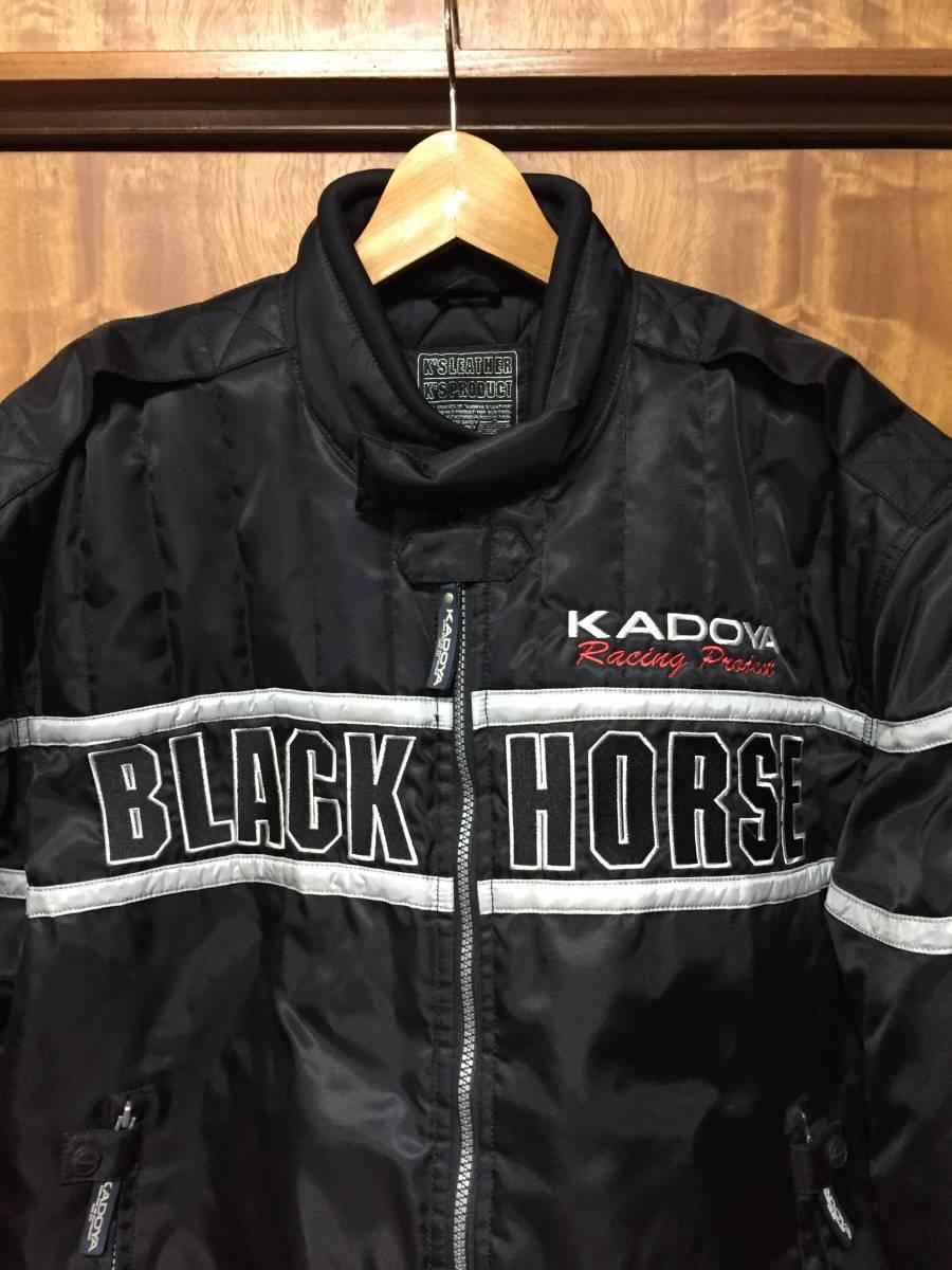 美品 KADOYA カドヤ K'S LEATHER BLACK HORSE 裏キルティング ナイロンライダースジャケット 黒3L_画像2