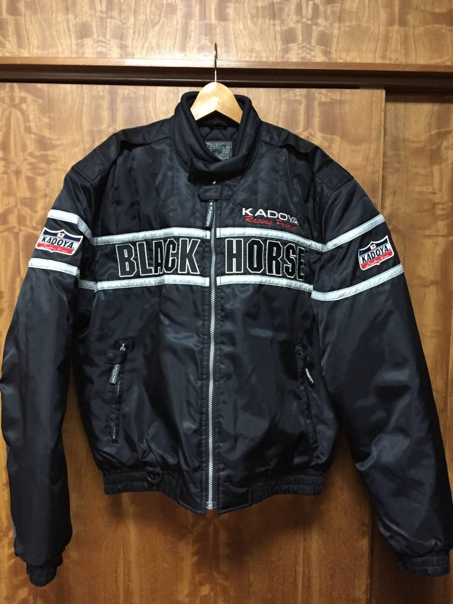 美品 KADOYA カドヤ K'S LEATHER BLACK HORSE 裏キルティング ナイロンライダースジャケット 黒3L