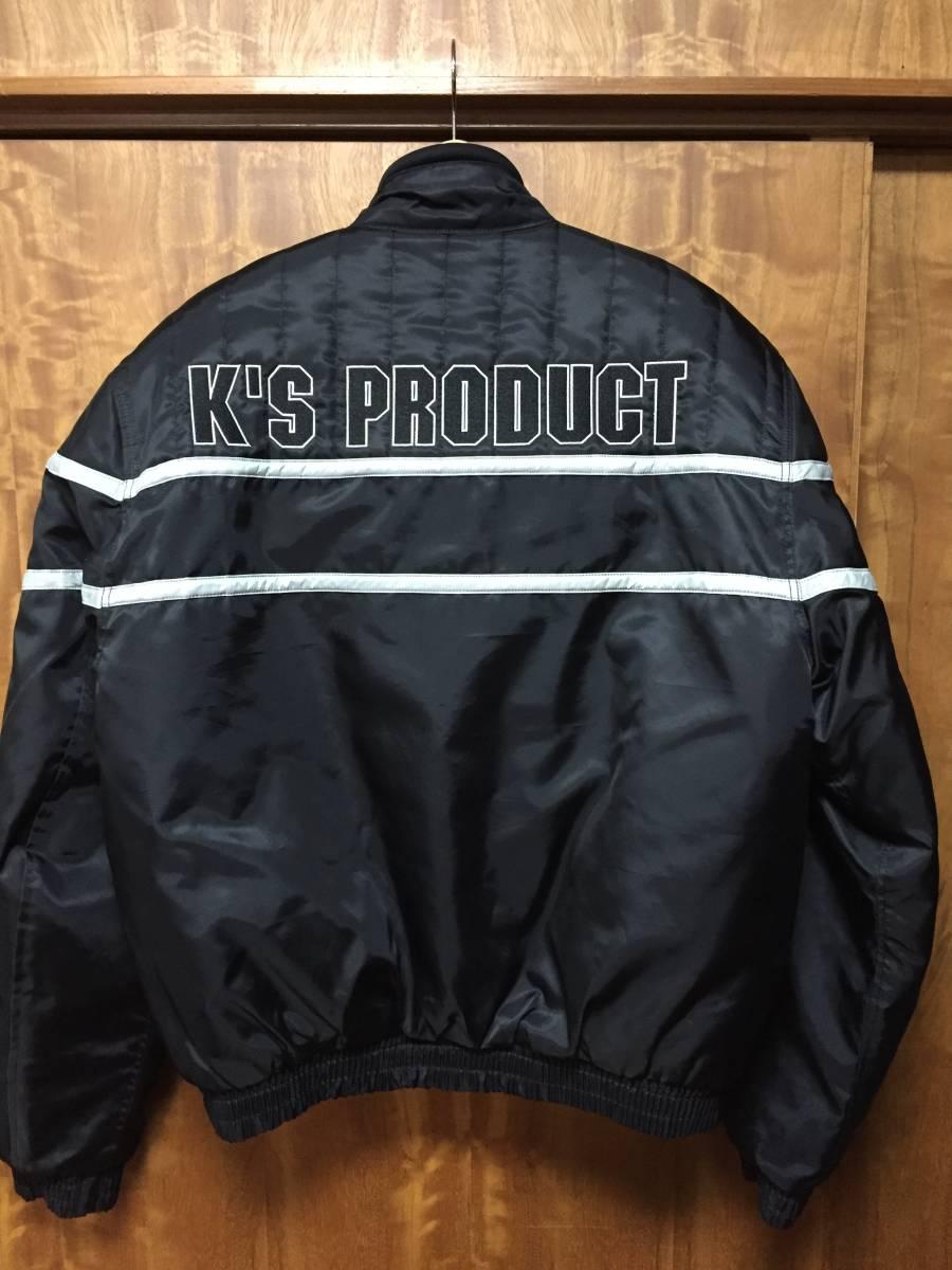美品 KADOYA カドヤ K'S LEATHER BLACK HORSE 裏キルティング ナイロンライダースジャケット 黒3L_画像3
