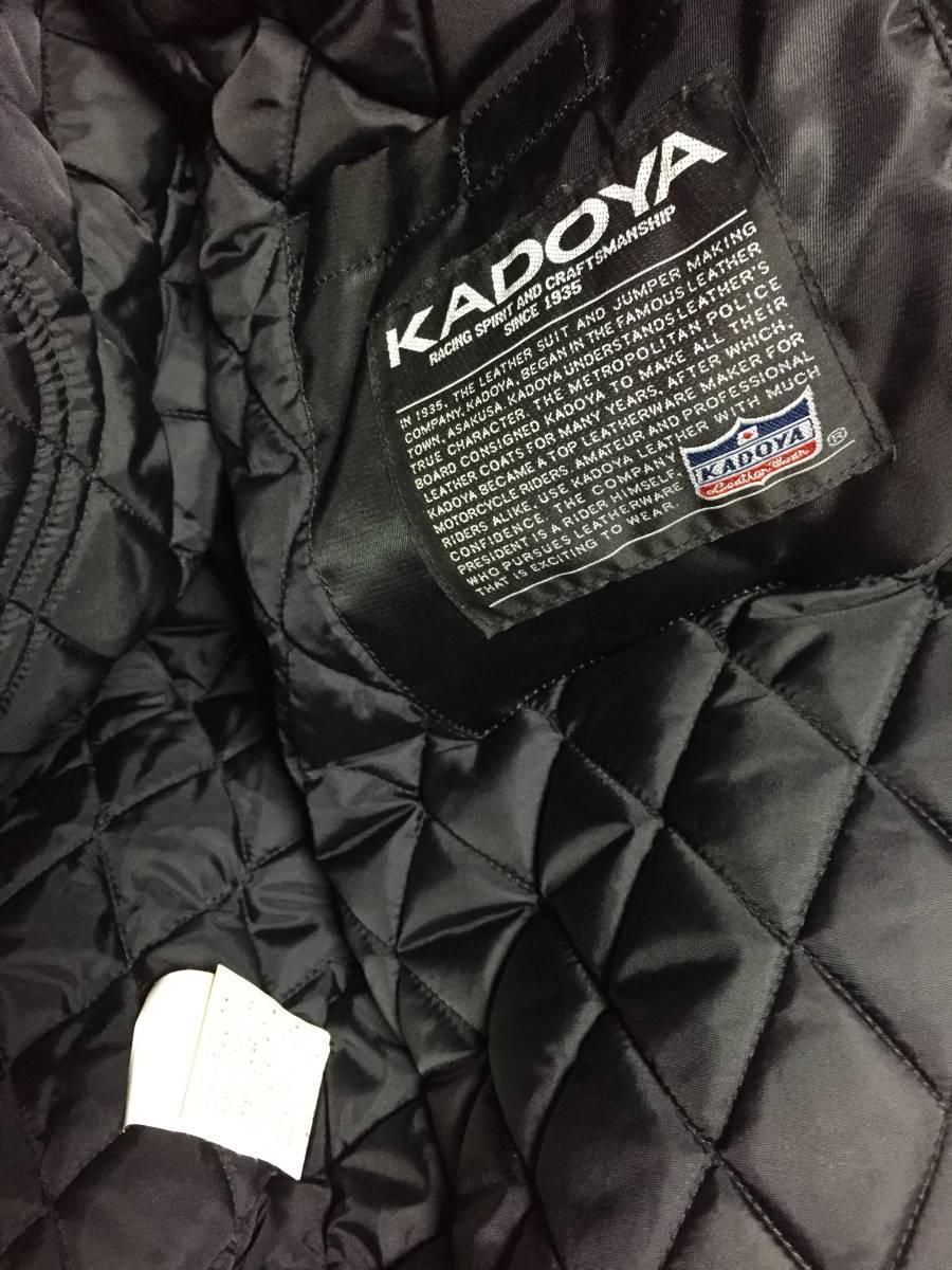 美品 KADOYA カドヤ K'S LEATHER BLACK HORSE 裏キルティング ナイロンライダースジャケット 黒3L_画像5