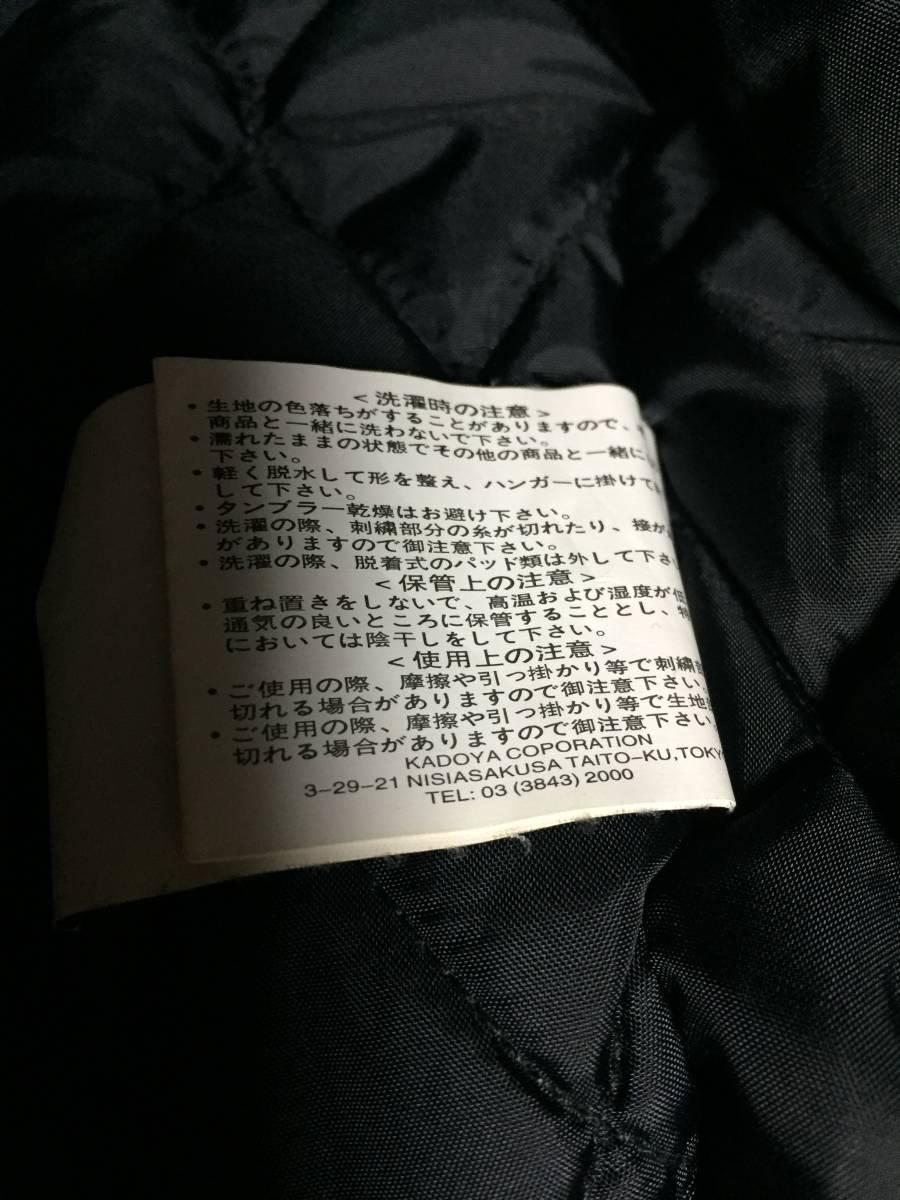 美品 KADOYA カドヤ K'S LEATHER BLACK HORSE 裏キルティング ナイロンライダースジャケット 黒3L_画像8