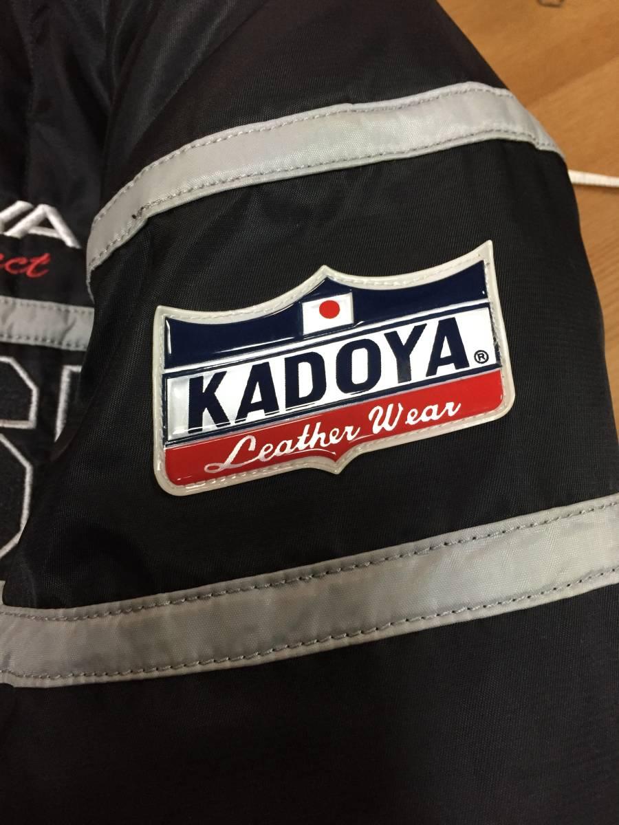 美品 KADOYA カドヤ K'S LEATHER BLACK HORSE 裏キルティング ナイロンライダースジャケット 黒3L_画像9