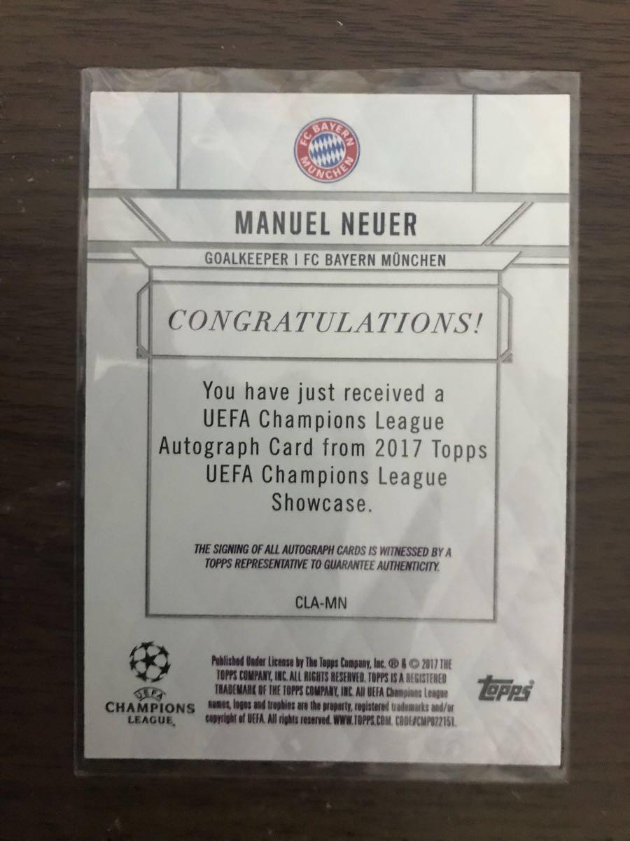 2017 TOPPS UEFA CHAMPIONS LEAGUE SHOWCASE ノイアー サインカード_画像2