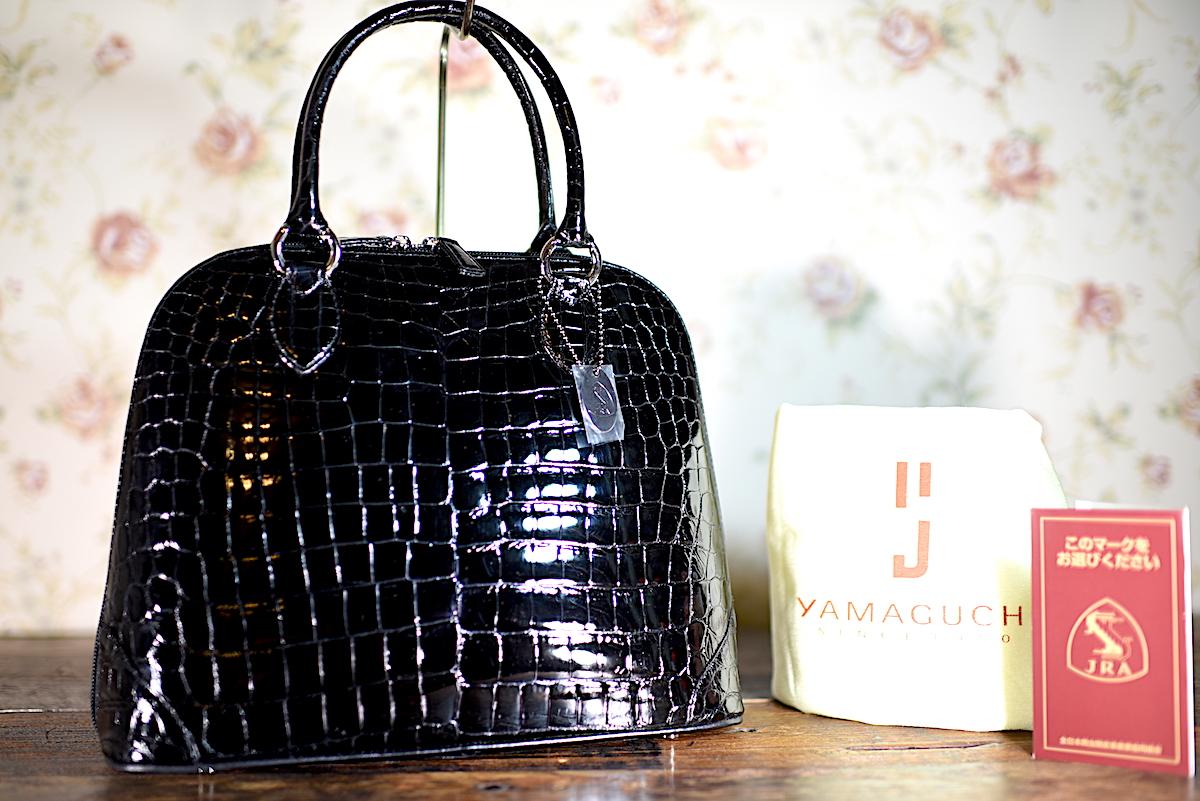K4 新品同様 YAMAGUCHI 本物 JRA クロコダイル ハンドバッグ 黒 定価38万円 ( シャイニン