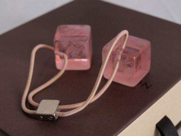 1円◆ルイヴィトンLOUIS VUITTONキューブ ヘアゴム ピンク+空箱セット ヘアキューブ/ロゴ/髪飾り/小物/アクセサリー/ボックス/BOX_画像2