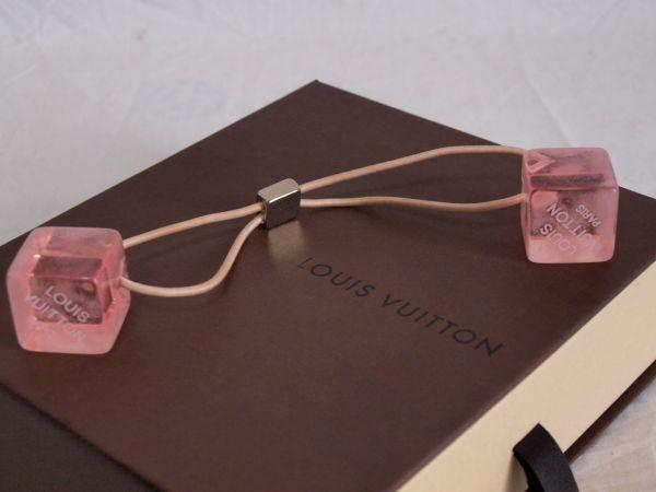 1円◆ルイヴィトンLOUIS VUITTONキューブ ヘアゴム ピンク+空箱セット ヘアキューブ/ロゴ/髪飾り/小物/アクセサリー/ボックス/BOX_画像3