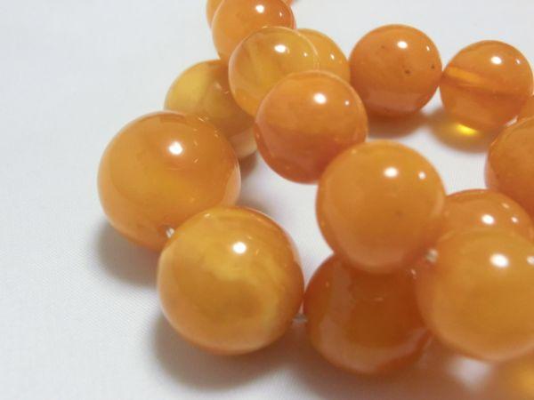 大玉蜜蝋琥珀 コハク 19.5mm珠 ネックレス fe12