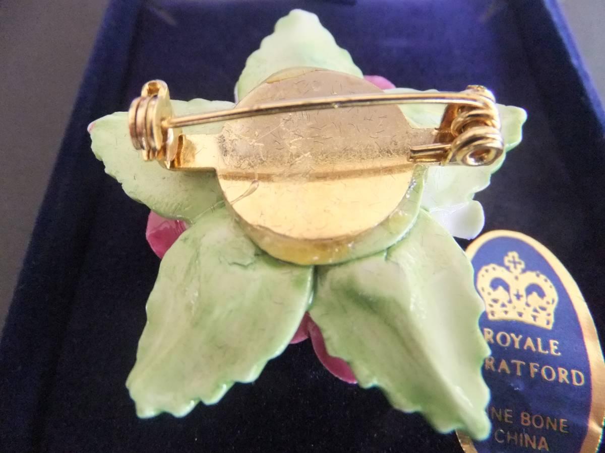 ヴィンテージ イギリス ロイヤル・スタッフォード 陶器製 磁器製 薔薇 バラ ブローチ エナメル ボーンチャイナ_画像5