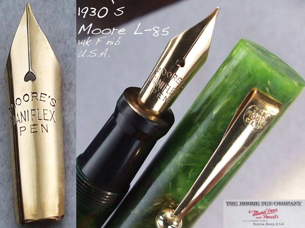 ◆レア◆1930年代製 ムーア万年筆 L-85 14金F USA ◆ 1930s Moore Fountain Pen L-85 14ct F nib U.S.A. ◆