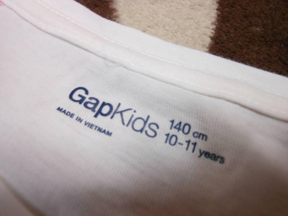 ∮571 140㎝ GAPKIDS 長袖Tシャツ 白×猫_画像3