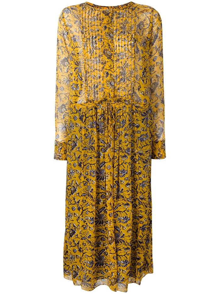 完売 17SS イザベルマラン ISABEL MARANT ETIOLE シルク製 ドレス ワンピース / 花柄 / ミディ丈 / 定価9万円弱