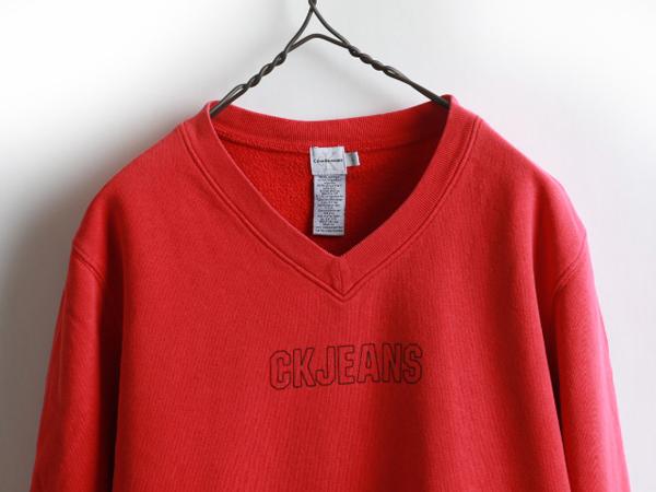 90's■カルバンクラインジーンズ CALVIN KLEIN JEANS CK ロゴプリント Vネックスウェットシャツ(メンズ L)_画像2