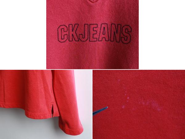 90's■カルバンクラインジーンズ CALVIN KLEIN JEANS CK ロゴプリント Vネックスウェットシャツ(メンズ L)_画像3