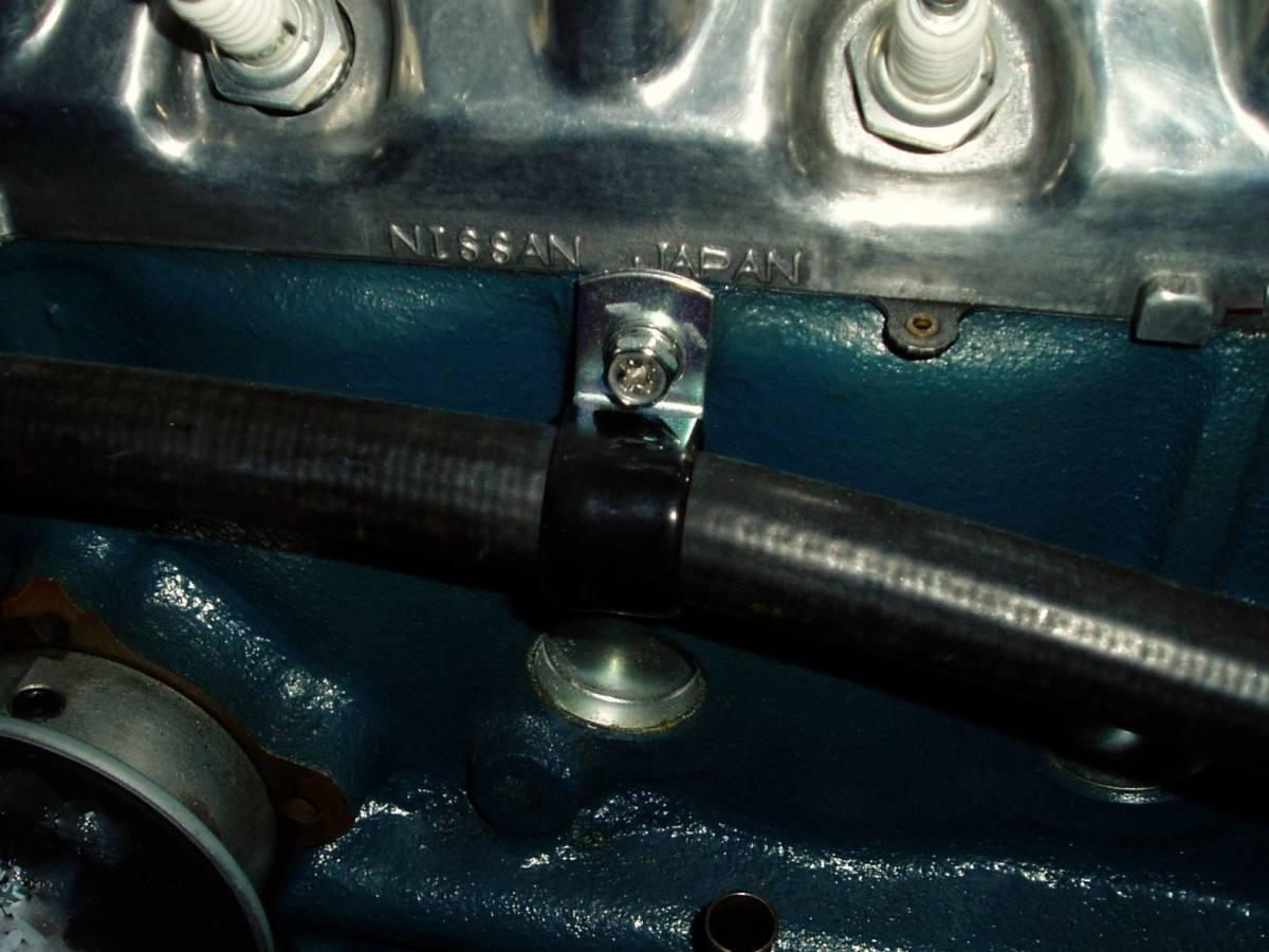 ハコスカ S30Z ローレル ヒーターホース サポート ブラケット ケンメリ インレット L20 S30Z GS30 GC110 SGX GC10 C130 L型 L28_装着例