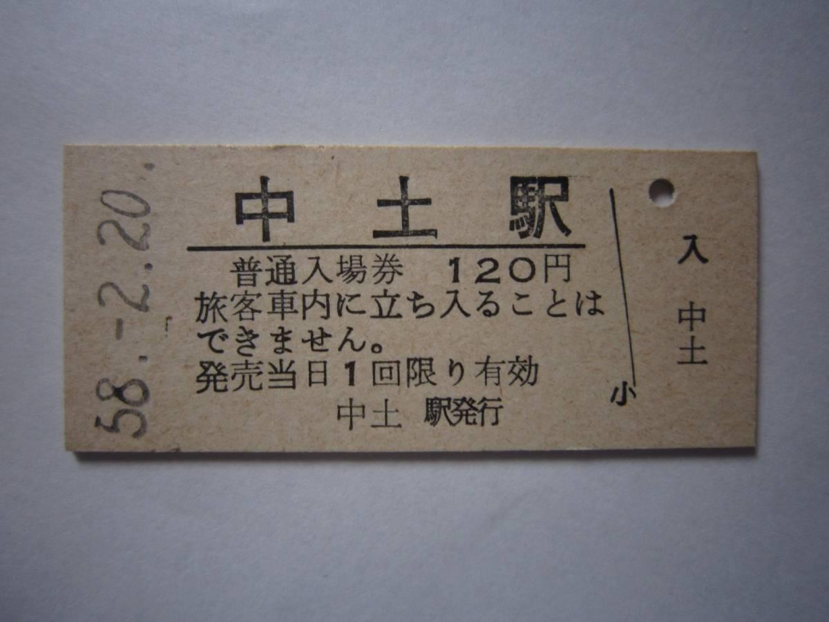 大糸線 中土駅 硬券入場券