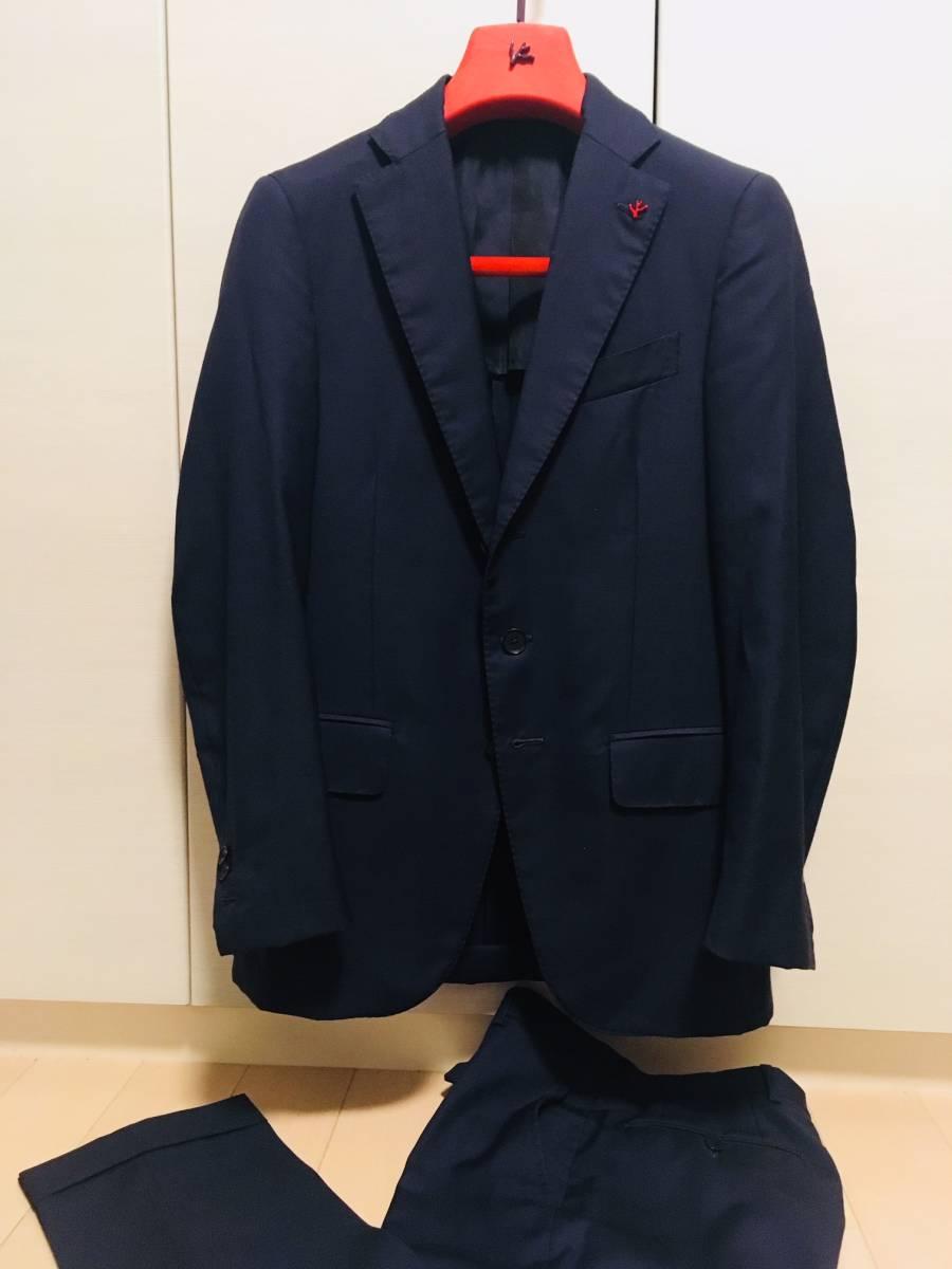 美品 ISAIA / イザイア  GREGORY 42 [44] 本切羽 ネイビー セットアップスーツ 段返り3つボタン ミッドタウン購入 35万円