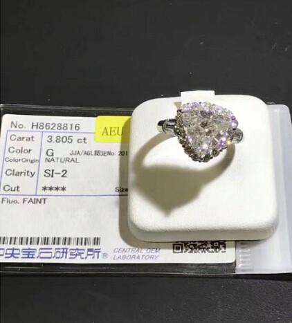 ダイヤリング DIAMOND PT900  ダイヤモンド 3.805ct! GカラーUP!SI2 中央宝石研究所 再落なし!!