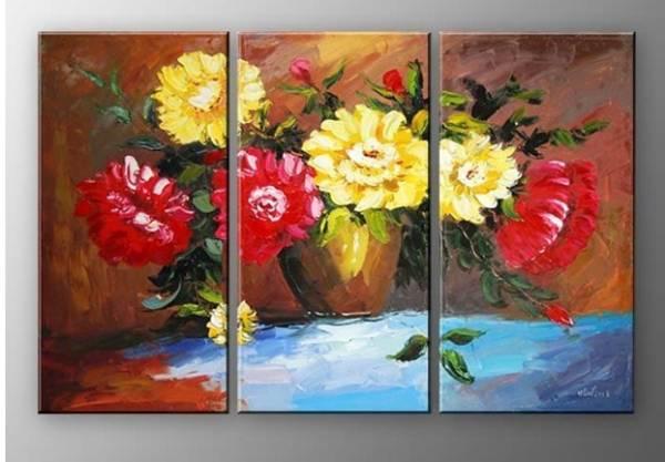 アートパネル 『赤と黄色の花』 30x60cm x 3枚組 手書き_画像1