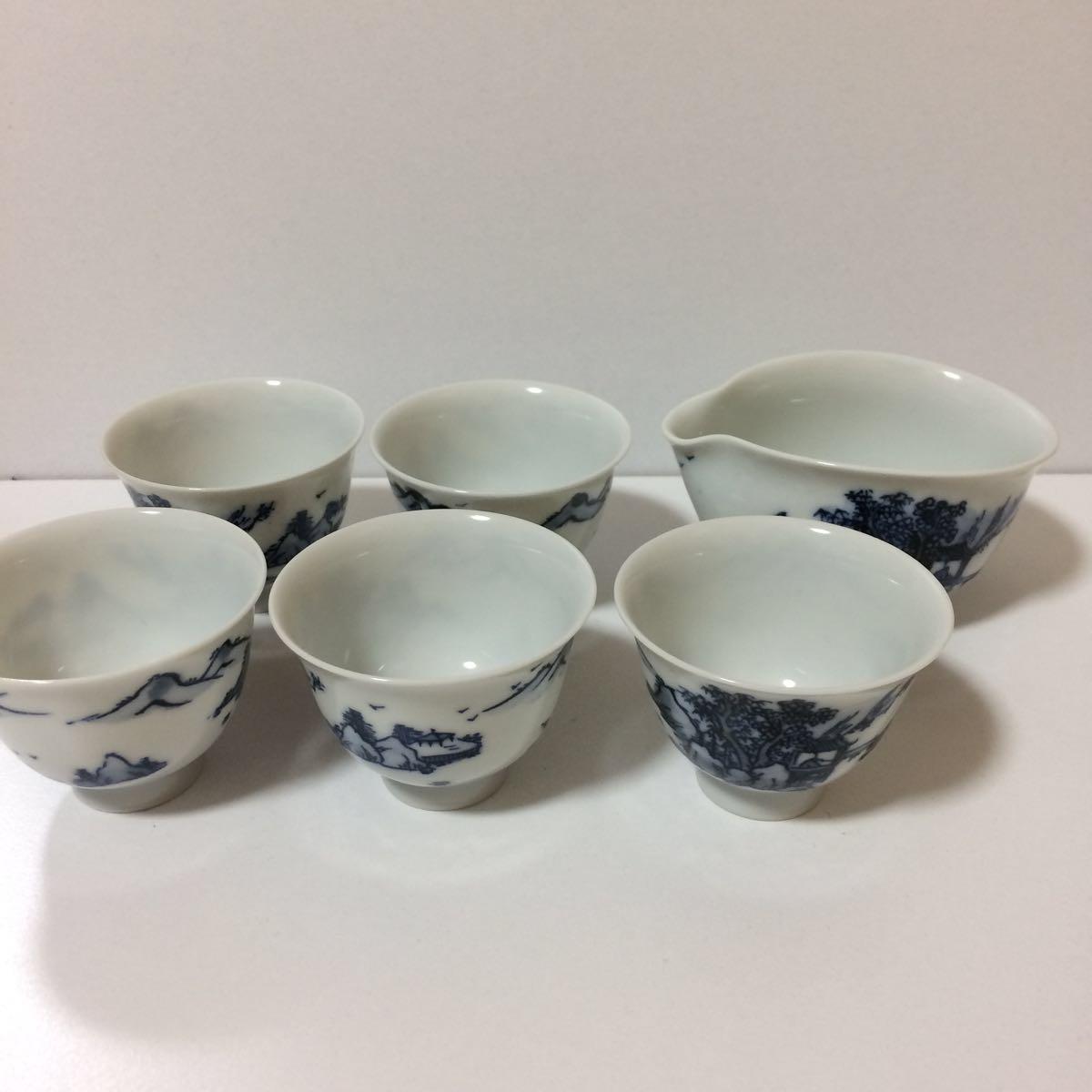 未使用 平安白鳳 茶器 セット 茶碗5客揃い 煎茶道具 煎茶器_画像1