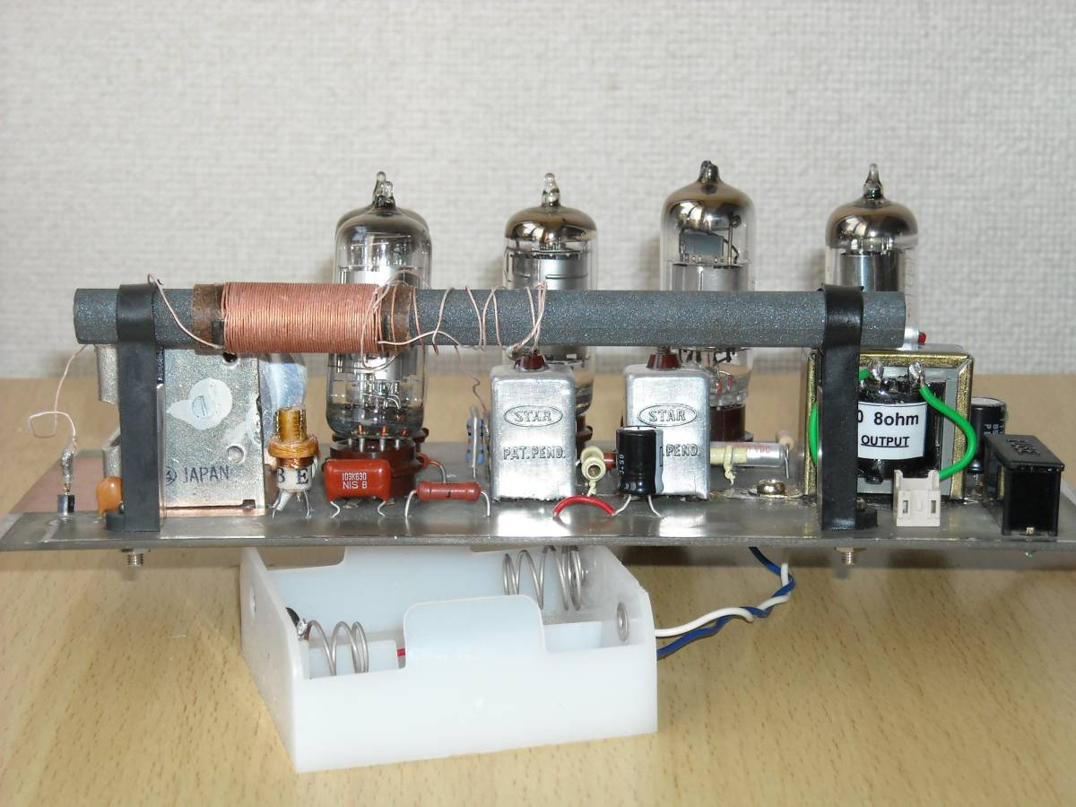 アクリルケースに組み込んだ、自作5球電池管ラジオ(高周波増幅付)_画像6