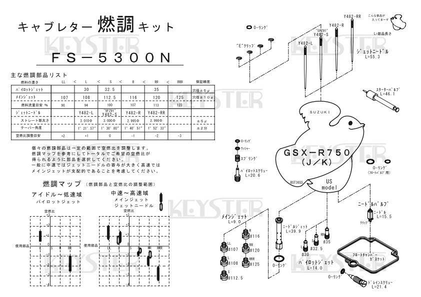 ■ FS-5300N  GSX-R750 J / K USモデル BST36SS キャブレター リペアキット キースター KEYSTER 燃調キット3_画像3