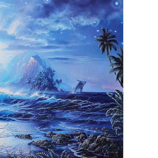 クリスチャン・ラッセン 巨大版画 真作保証 ハワイ マウイ 海 波 夜景 月夜 星空 クジラ イルカ 月 満月 星 大自然 砂浜 浜辺 風景 絵画_画像5