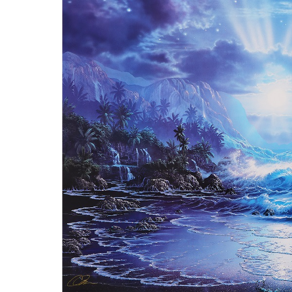クリスチャン・ラッセン 巨大版画 真作保証 ハワイ マウイ 海 波 夜景 月夜 星空 クジラ イルカ 月 満月 星 大自然 砂浜 浜辺 風景 絵画_画像4